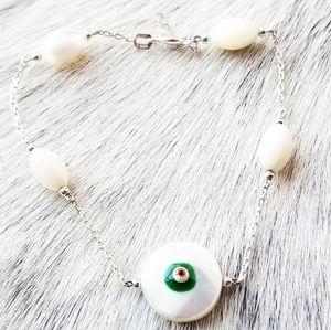 925 SS & Mother of Pearl Evil Eye Bracelet NWOT